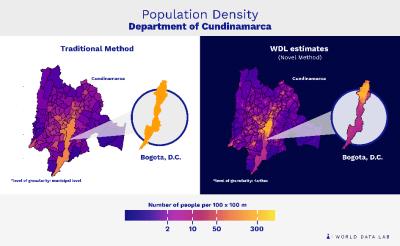 Figure 3. Population density in Cundinamarca in 2018